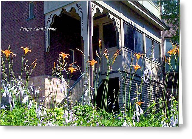 Image Included In Queen The Novel - New England Victorian House Enhanced Greeting Card by Felipe Adan Lerma
