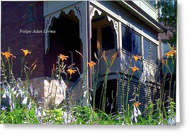 Image Included In Queen The Novel - New England Victorian House Greeting Card by Felipe Adan Lerma