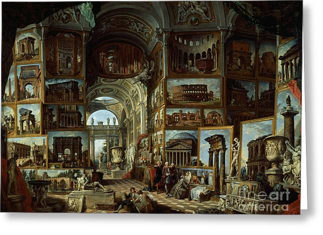 Imaginary Gallery Of Views Of Ancient Rome Greeting Card by Giovanni Paolo Pannini
