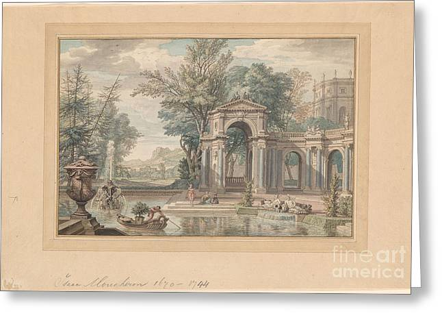 Imaginary Italianate Garden With Two Figures And A Dog Beside A Pool Greeting Card