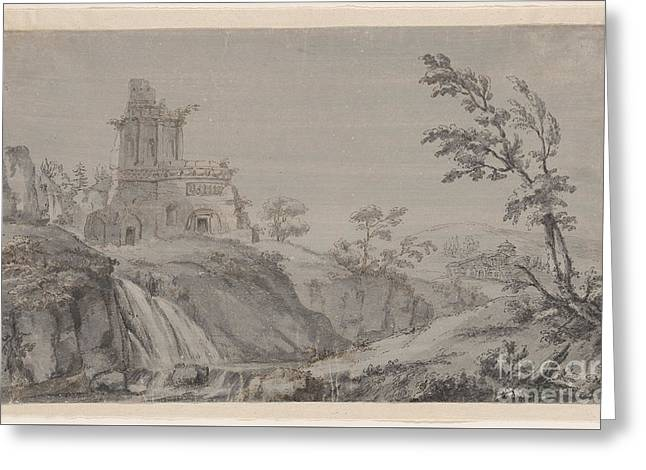 Imaginary Landscape With Classical Ruins Greeting Card by MotionAge Designs