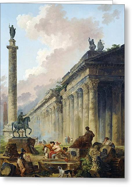 Imaginary View Of Rome With Equestrian Statue Of Marcus Aurelius - The Column Of Trajan And A Temple Greeting Card by Mountain Dreams