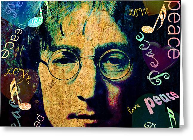 Imagine - John Lennon Greeting Card by Stacey Chiew
