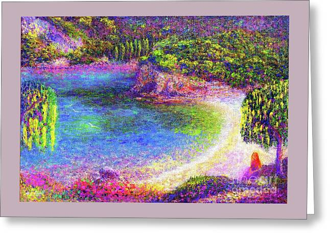 Greeting Card featuring the painting Imagine, Meditating In Beautiful Bay,seascape by Jane Small