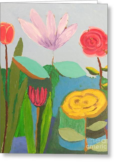 Greeting Card featuring the painting Imagined Flowers One by Rod Ismay