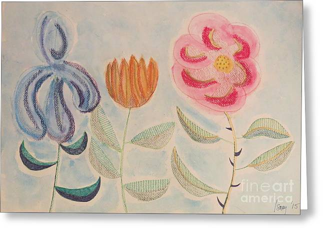 Greeting Card featuring the painting Imagined Flowers Two by Rod Ismay