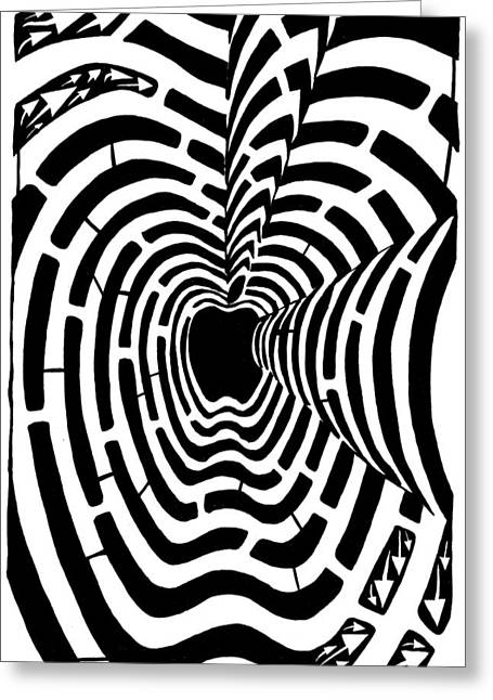 iMaze Apple Ad Maze Idea Greeting Card by Yonatan Frimer Maze Artist
