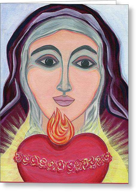 Immaculate Heart Of Mary Greeting Card by Danielle Tayabas