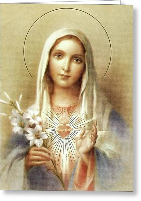 Greeting Card featuring the mixed media Immaculate Heart Of Mary by Movie Poster Prints