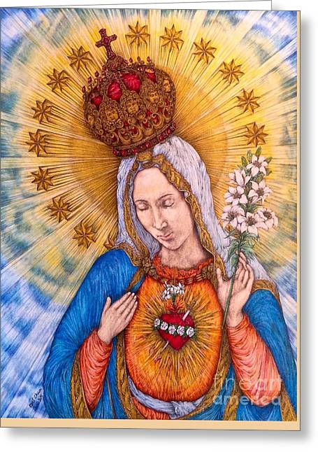 Immaculate Heart Of Virgin Mary Hand-drawn Greeting Card by Kent Chua