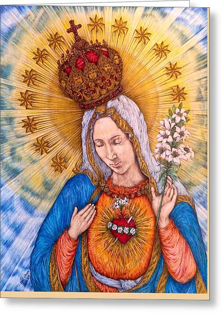 Immaculate Heart Of Virgin Mary Greeting Card by Kent Chua