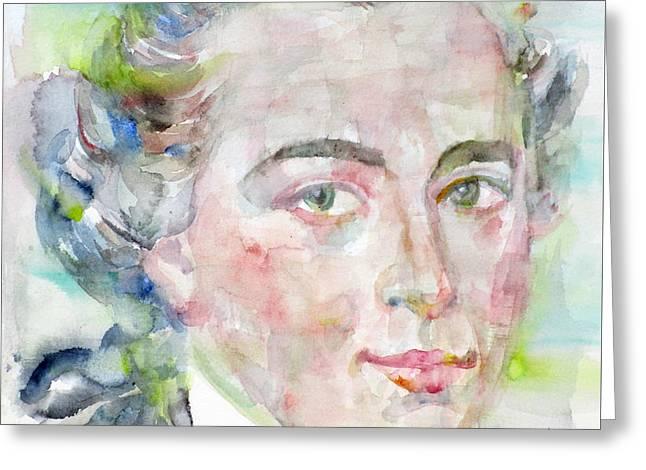 Immanuel Kant - Watercolor Portrait Greeting Card by Fabrizio Cassetta