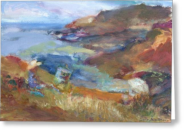 Immersed In The Landscape Painters At Rocky Creek, Quin Sweetman Greeting Card by Quin Sweetman