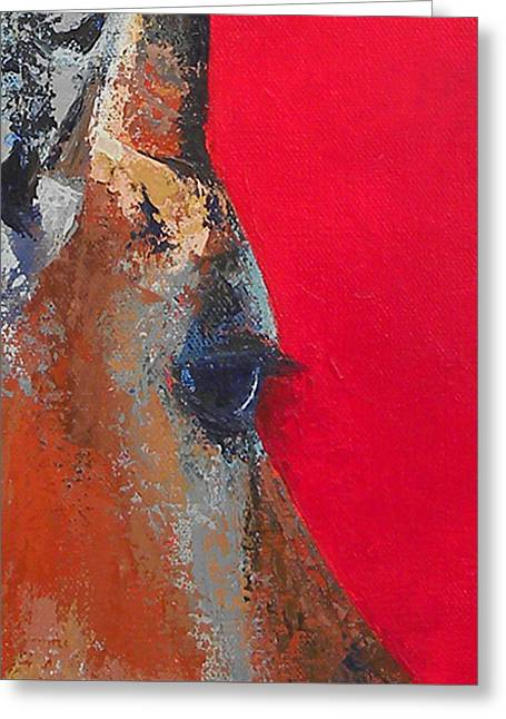 Impala On Crimson Close-up Greeting Card by Karen Macek