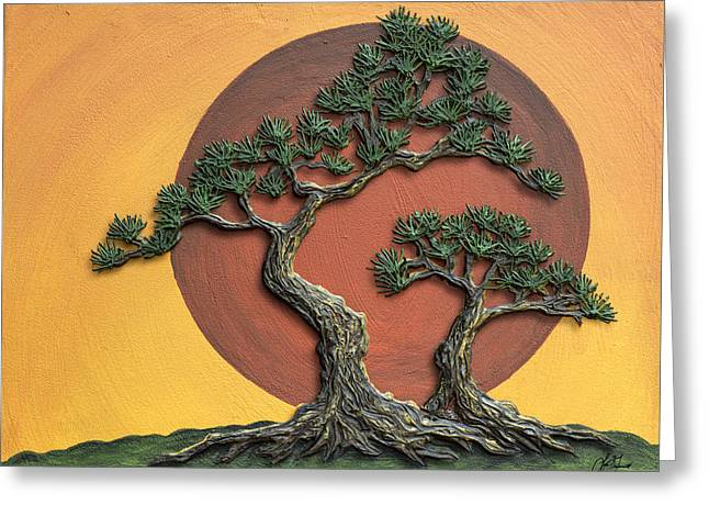 Impasto - Bonsai With Sun - One Greeting Card by Lori Grimmett