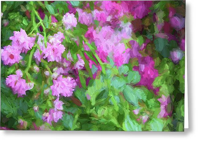 Impasto Roses Greeting Card by Bonnie Bruno