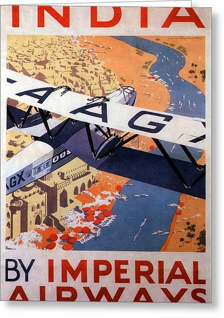 Imperial Airways Airplane Flying Over River Ganges In India - Vintage Travel Advertising Poster Greeting Card