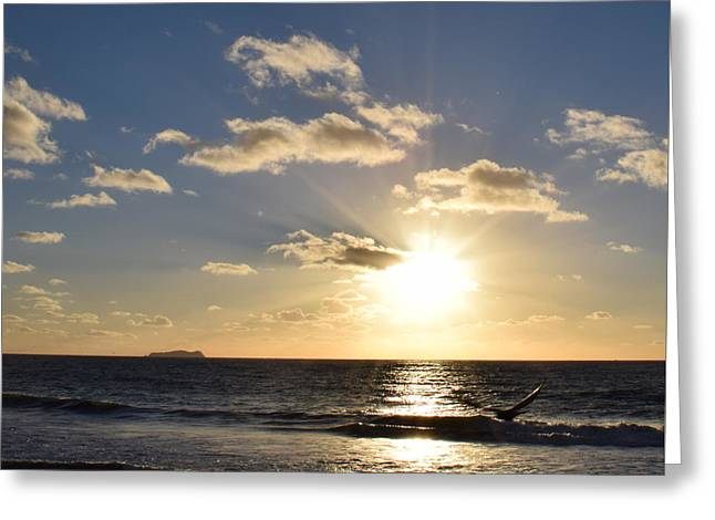 Sunset Reflection At Imperrial Beach Greeting Card
