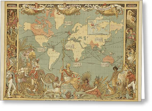 Greeting Card featuring the digital art Imperial Map by Digital Art Cafe