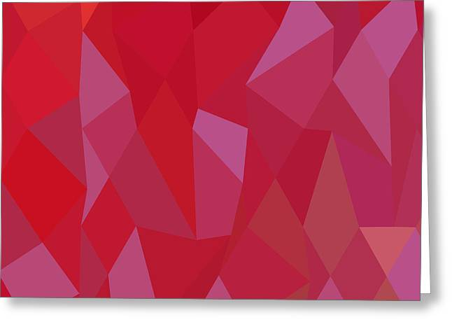 Imperial Purple Cadmium Red Abstract Low Polygon Background Greeting Card
