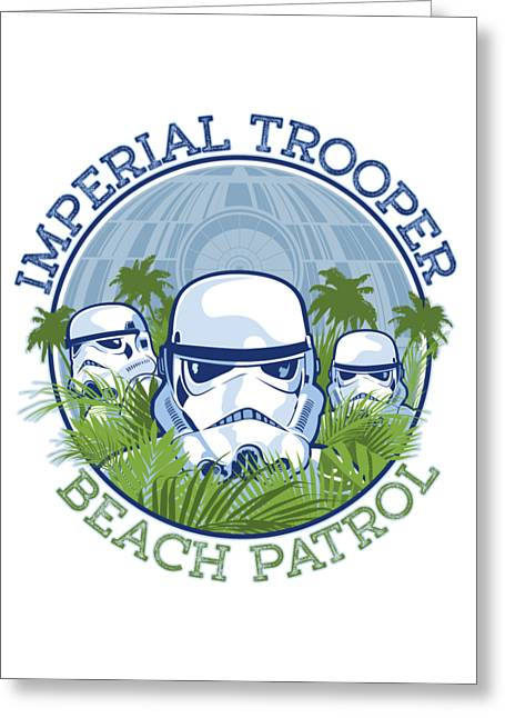 Imperial Trooper Beach Patrol Greeting Card by Edward Draganski