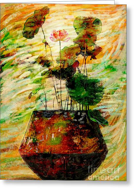 Impression In Lotus Tree Greeting Card