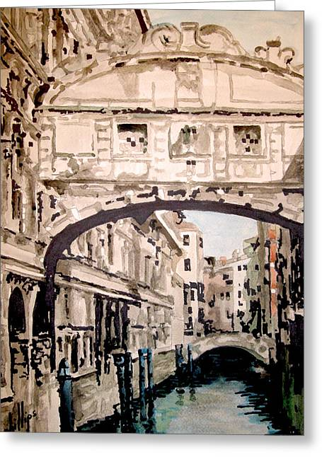 Greeting Card featuring the painting Impression Of Venice by Jim Phillips