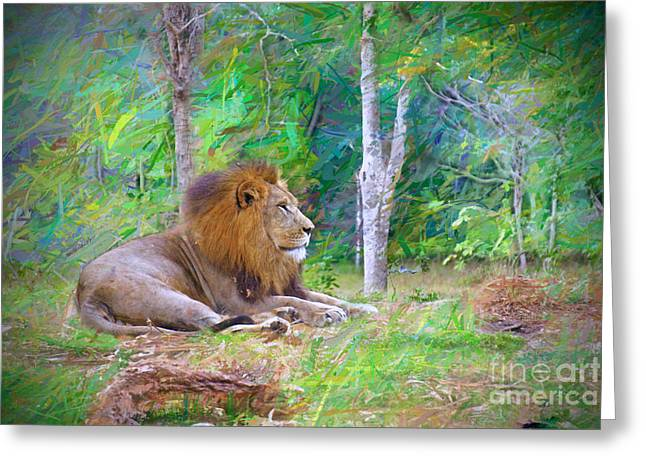 Impressionable Lion Greeting Card
