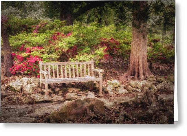 Greeting Card featuring the photograph Impressionist Bench by James Barber