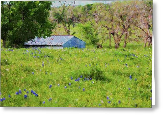 Greeting Card featuring the digital art Impressionist Bluebonnets And Barn by Ellen Barron O'Reilly