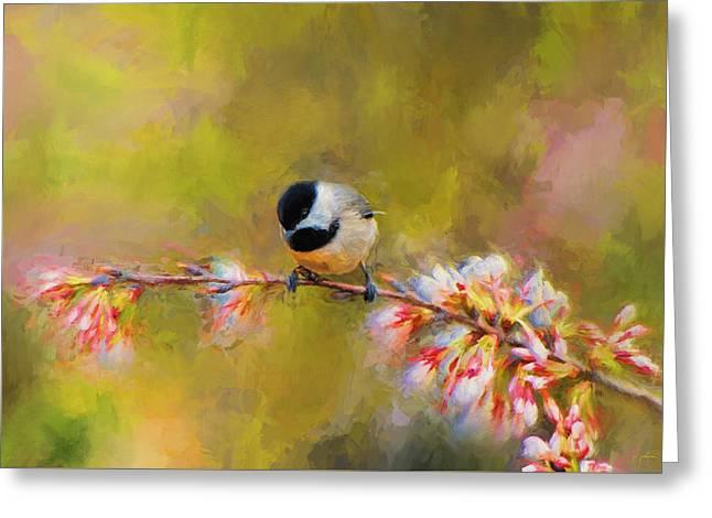 Impressionist Chickadee Greeting Card by Jai Johnson