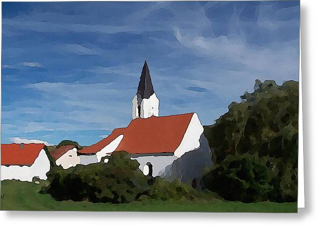 Greeting Card featuring the digital art Impressionist Country Church by Shelli Fitzpatrick
