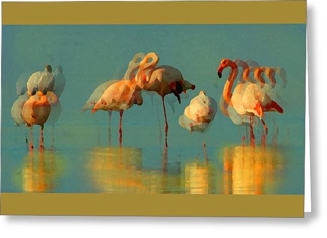 Greeting Card featuring the digital art Impressionist Flamingo Abstract by Shelli Fitzpatrick