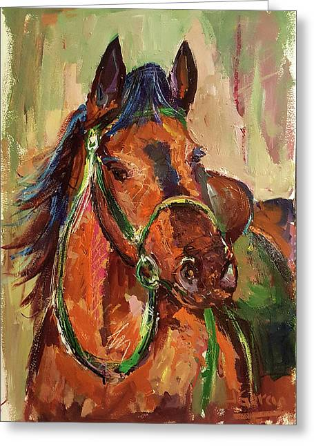 Impressionist Horse Greeting Card by Janet Garcia