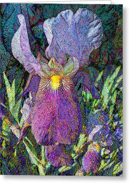 Impressionist Iris Greeting Card by Michele Avanti