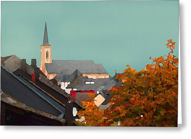 Greeting Card featuring the digital art Impressionist Village With Church Steeple by Shelli Fitzpatrick