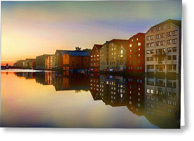 Greeting Card featuring the digital art Impressionist Waterfront View by Shelli Fitzpatrick