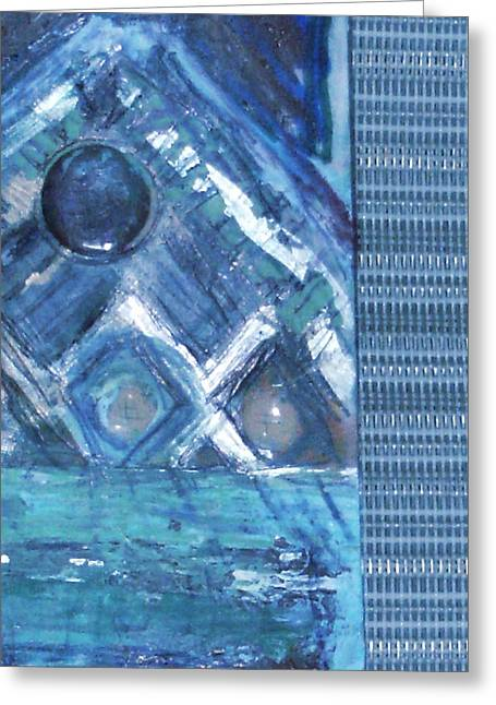 Impressionistic Blues With Buttons Greeting Card by Anne-Elizabeth Whiteway