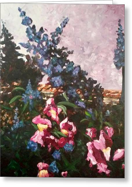 Greeting Card featuring the painting Impressionistic Flowers by Ray Khalife