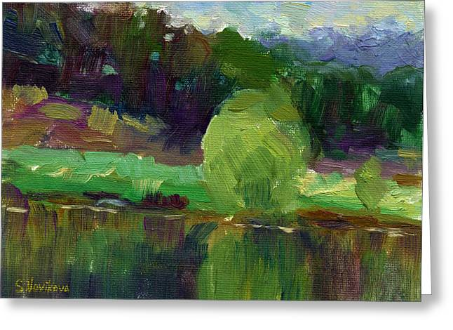 Impressionistic Oil Landscape Lake Painting Greeting Card by Svetlana Novikova