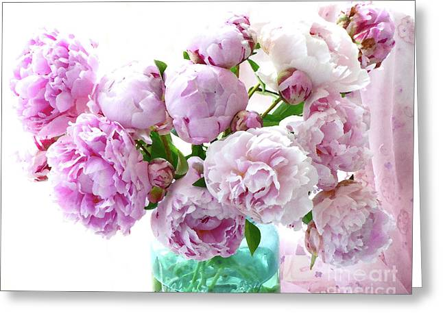 Greeting Card featuring the photograph Impressionistic Romantic Pink Peonies Watercolor Romantic Floral Decor - Pink Peony Decor by Kathy Fornal