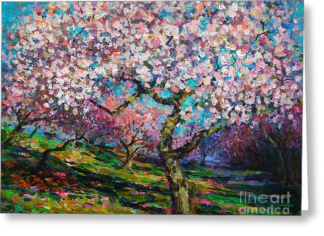Colorful Landscape Prints Greeting Cards - Impressionistic Spring Blossoms Trees Landscape painting Svetlana Novikova Greeting Card by Svetlana Novikova