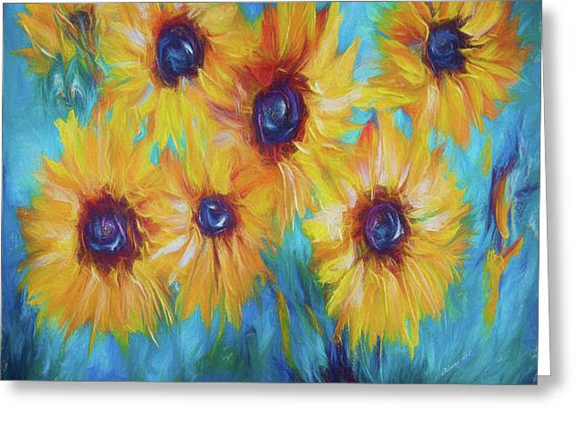 Impressionistic Sunflowers Greeting Card by Art OLena