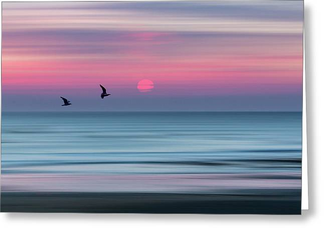 Impressionistic Sunset At Widemouth Bay, Bude, Cornwall, Uk.  Greeting Card by Maggie McCall