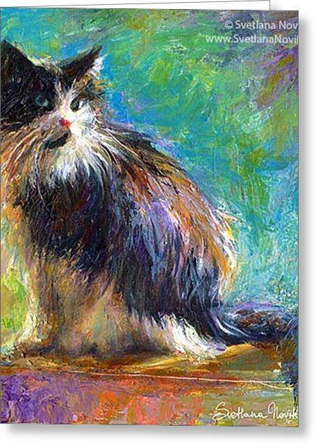 Impressionistic Tuxedo Cat Painting By Greeting Card
