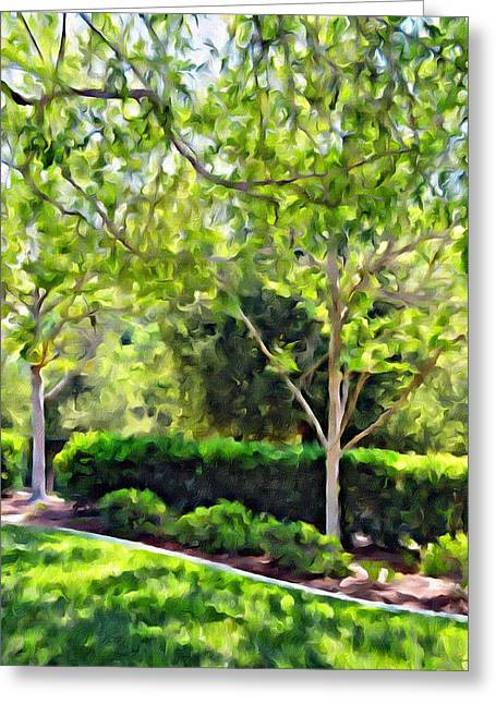Impressions From A Park - One Greeting Card by Glenn McCarthy Art