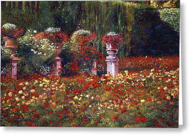 Impressions Of An English Rose Garden Greeting Card by David Lloyd Glover