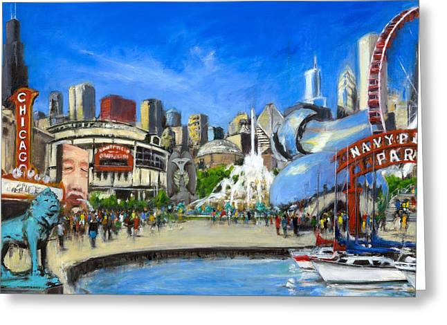 The Bean Paintings Greeting Cards - Impressions of Chicago Greeting Card by Robert Reeves