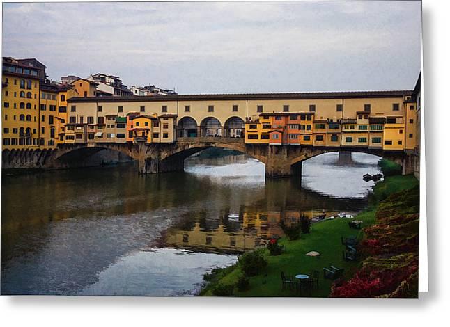 Impressions Of Florence - Ponte Vecchio Autumn Greeting Card by Georgia Mizuleva