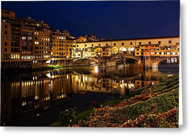 Impressions Of Florence - Ponte Vecchio Evening Greeting Card by Georgia Mizuleva